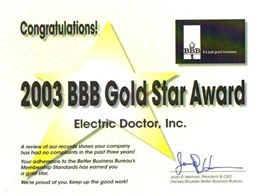 Denver Electrician BBB Gold Star 2003 - Electric Doctor