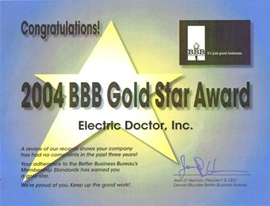 Denver Electrician BBB Gold Star 2004 - Electric Doctor