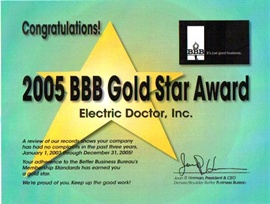 Denver Electrician BBB Gold Star 2005 - Electric Doctor