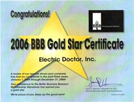 Denver Electrician BBB Gold Star 2006 - Electric Doctor