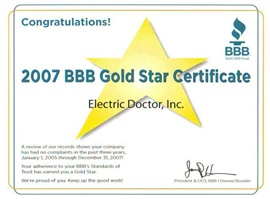 Denver Electrician BBB Gold Star 2007 - Electric Doctor