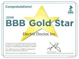 Denver Electrician BBB Gold Star 2008 - Electric Doctor