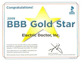 Electric Doctor's BBB Gold Star Award 2009