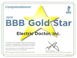 Denver Electrician BBB Gold Star 2010 - Electric Doctor
