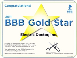 Denver Electrician BBB Gold Star 2011 - Electric Doctor
