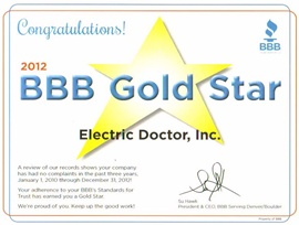 Denver Electrician BBB Gold Star 2012 - Electric Doctor