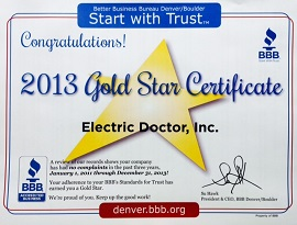 Denver Electrician BBB Gold Star 2013 - Electric Doctor