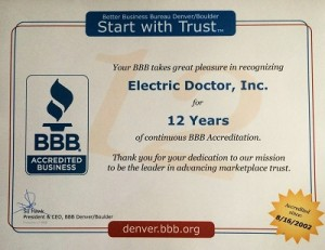 electric doctor's 12 year bbb longevity award